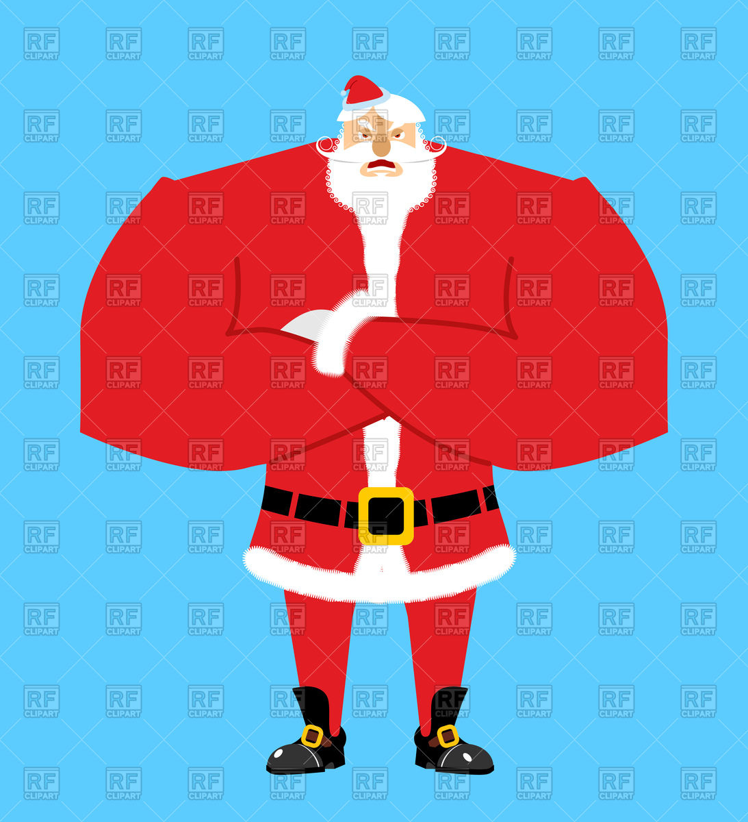 Bearded angry Santa Claus Stock Vector Image.