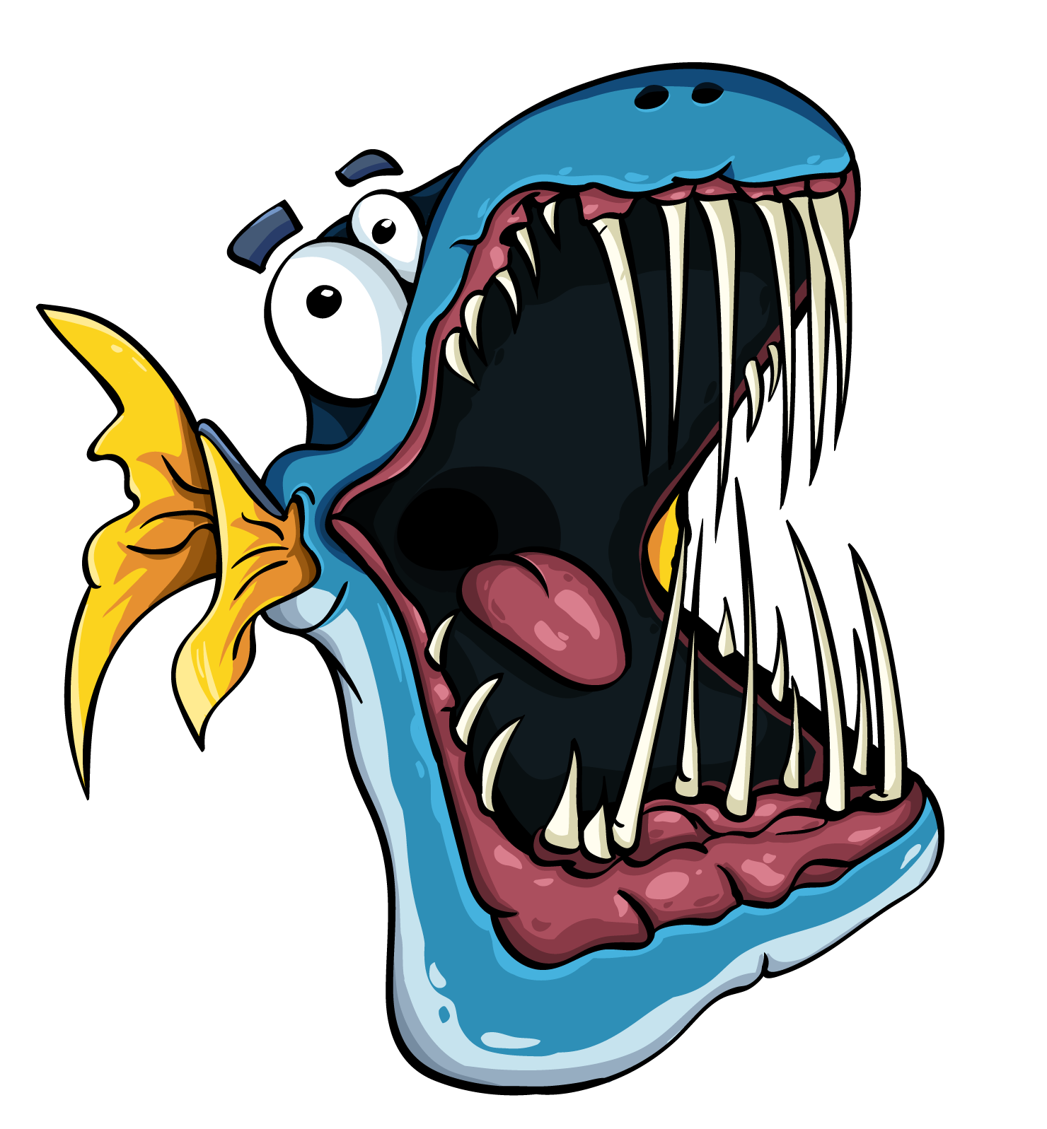 Toothy cartoon fish with big jaw.