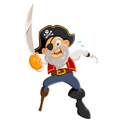 Cartoon illustration of an angry sea pirate clipart holding.