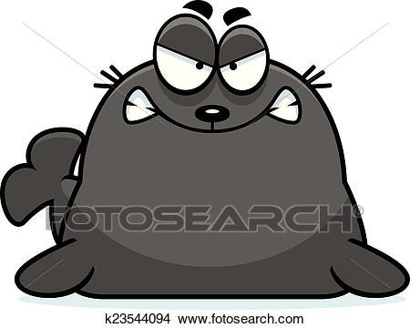 Angry Cartoon Seal Clipart.