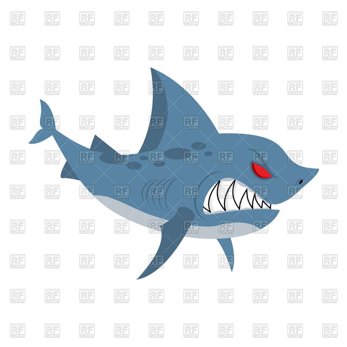 Angry shark Stock Vector Image.
