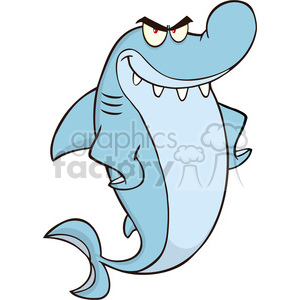 Royalty Free RF Clipart Illustration Angry Shark Cartoon Character clipart.  Royalty.