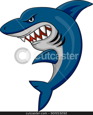 Angry Shark stock vector.