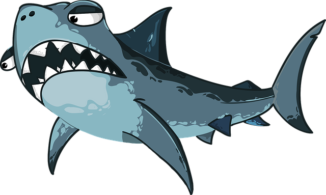 Vector angry shark clipart (download).