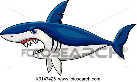 Angry shark cartoon Clipart.