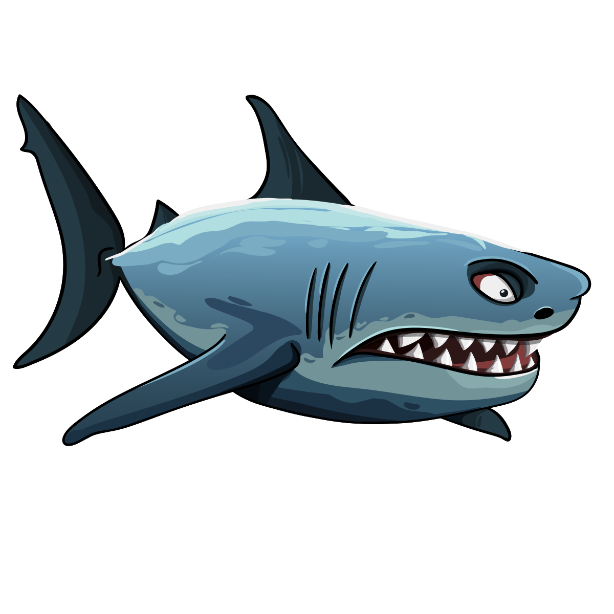 Angry shark clipart.