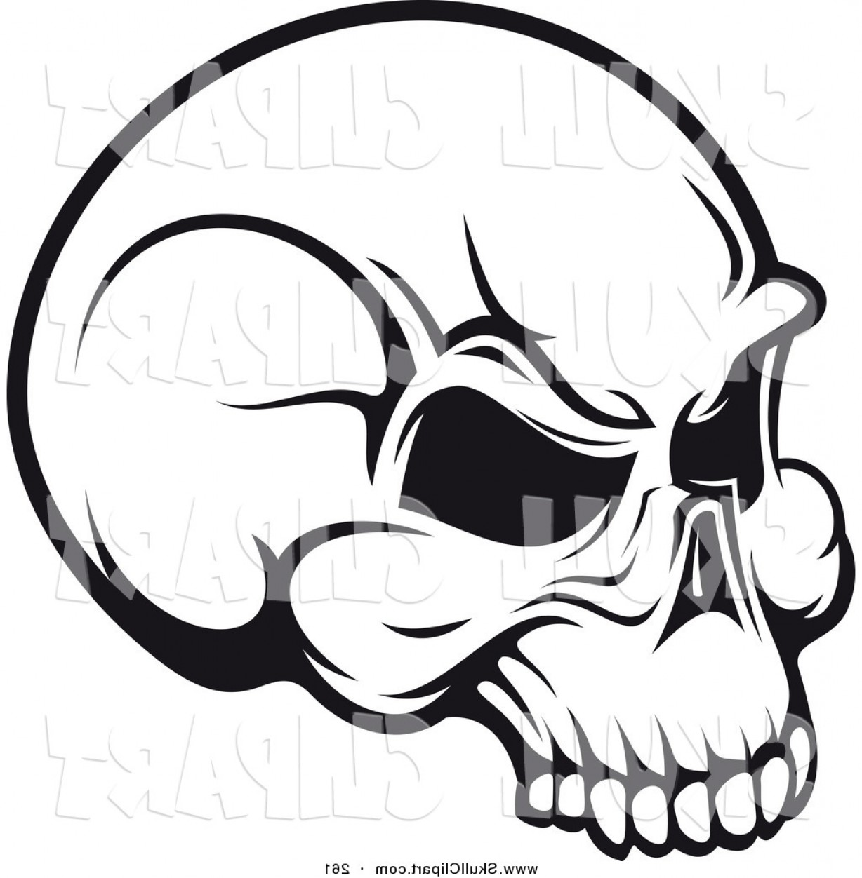 Vector Clip Art Of A Black And White Angry Skull Logo By.