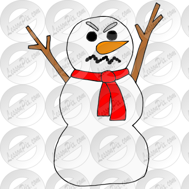 Angry Snowman Picture for Classroom / Therapy Use.