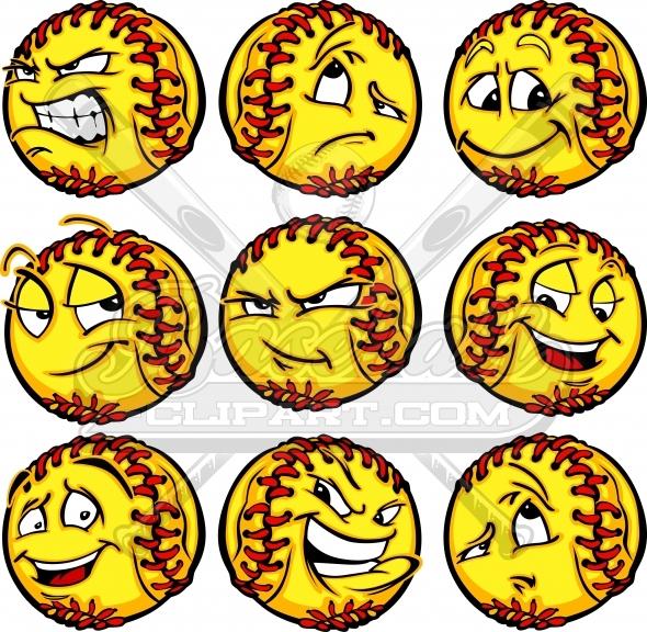 Cartoon Softball Faces.