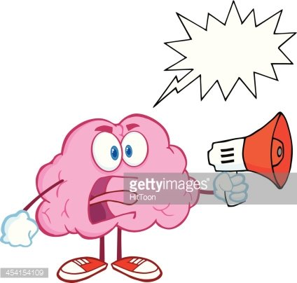 Angry Brain Screaming Into Megaphone With Speech Bubble.