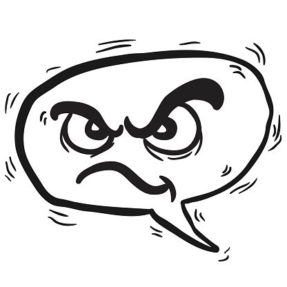 black and white angry speech bubble Clipart Image.