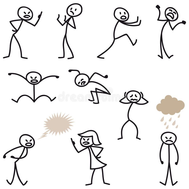 Photo about Set of stick figures: Angry, bad.