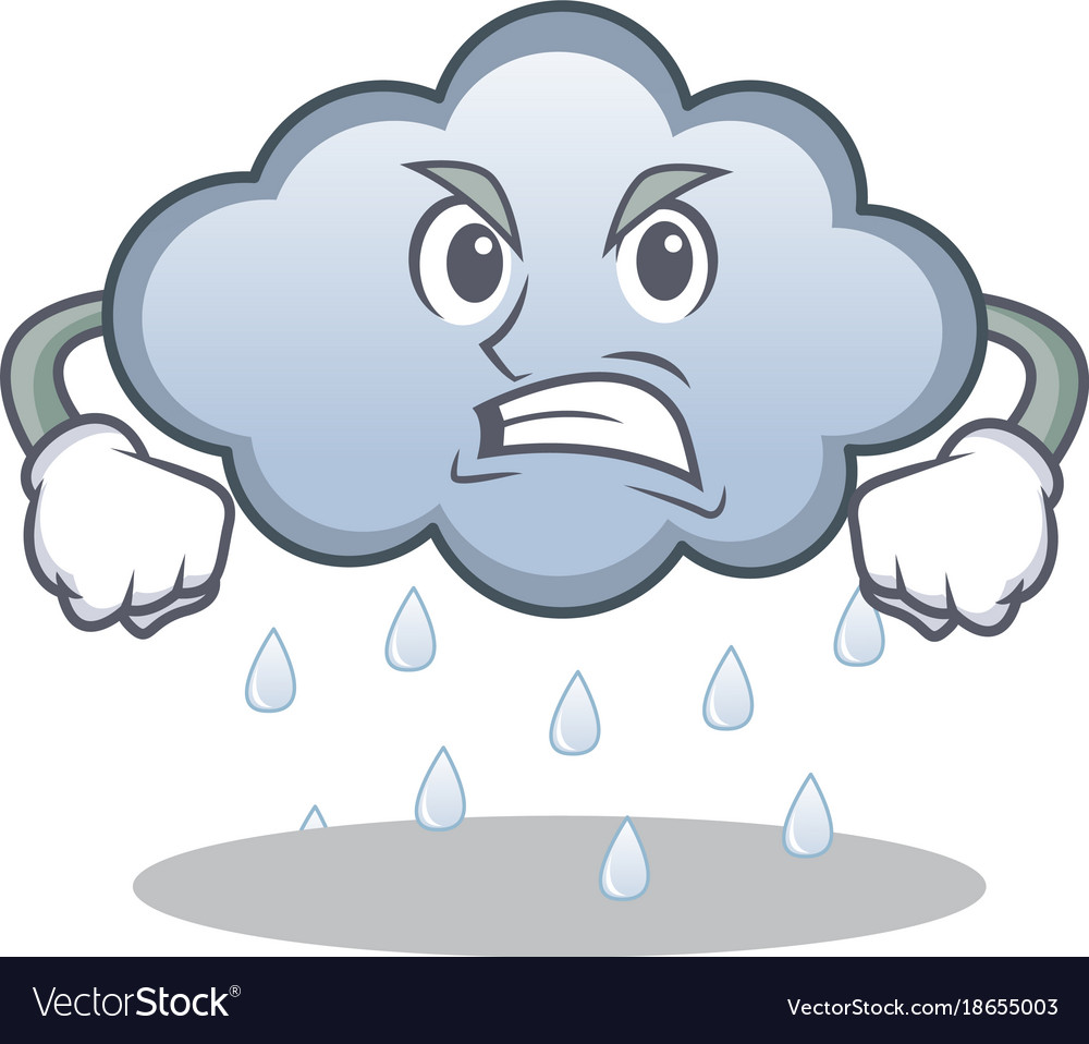 Angry rain cloud character cartoon.