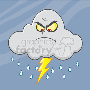 7029 Royalty Free RF Clipart Illustration Angry Cloud With Lightning And  Rain clipart. Royalty.