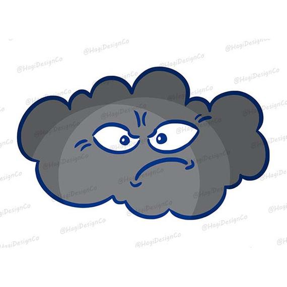 Angry Cloud Clipart PNG Files, Digital Weather Print, Instant Download,  Graphics, Cute Cartoon Grey Kawaii Cloud, Storm Cloud, Sublimation.
