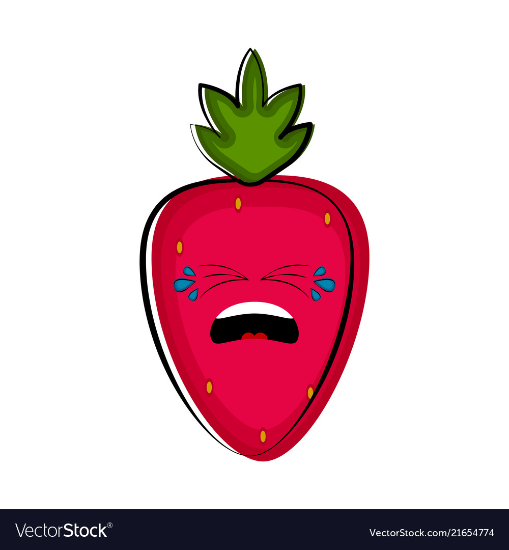 Crying strawberry cartoon character emote.