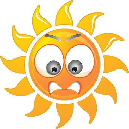 Angry Sun Hot Summer premium clipart.