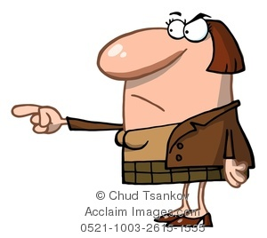 Clipart Image of An Angry Teacher Pointing Her Finger.