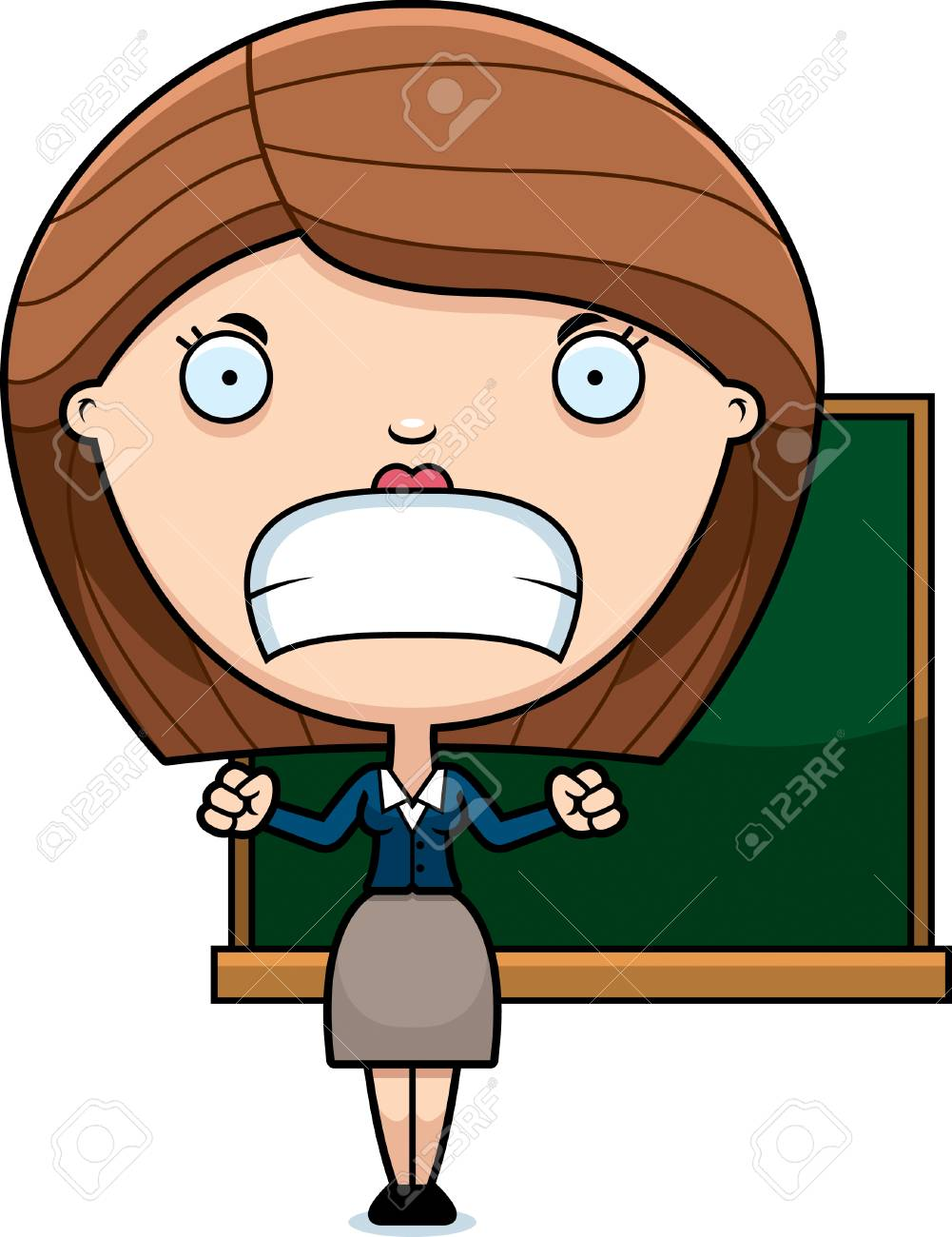 A cartoon illustration of a teacher looking angry..