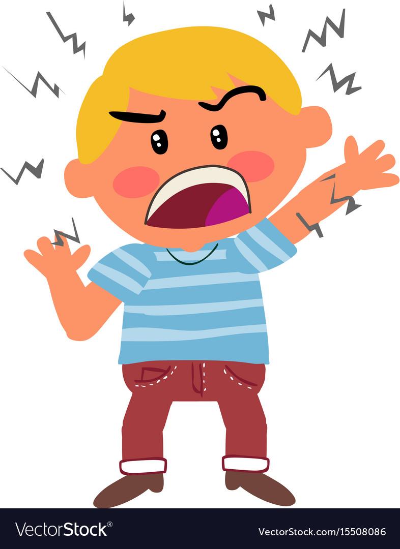 Cartoon character boy angry.