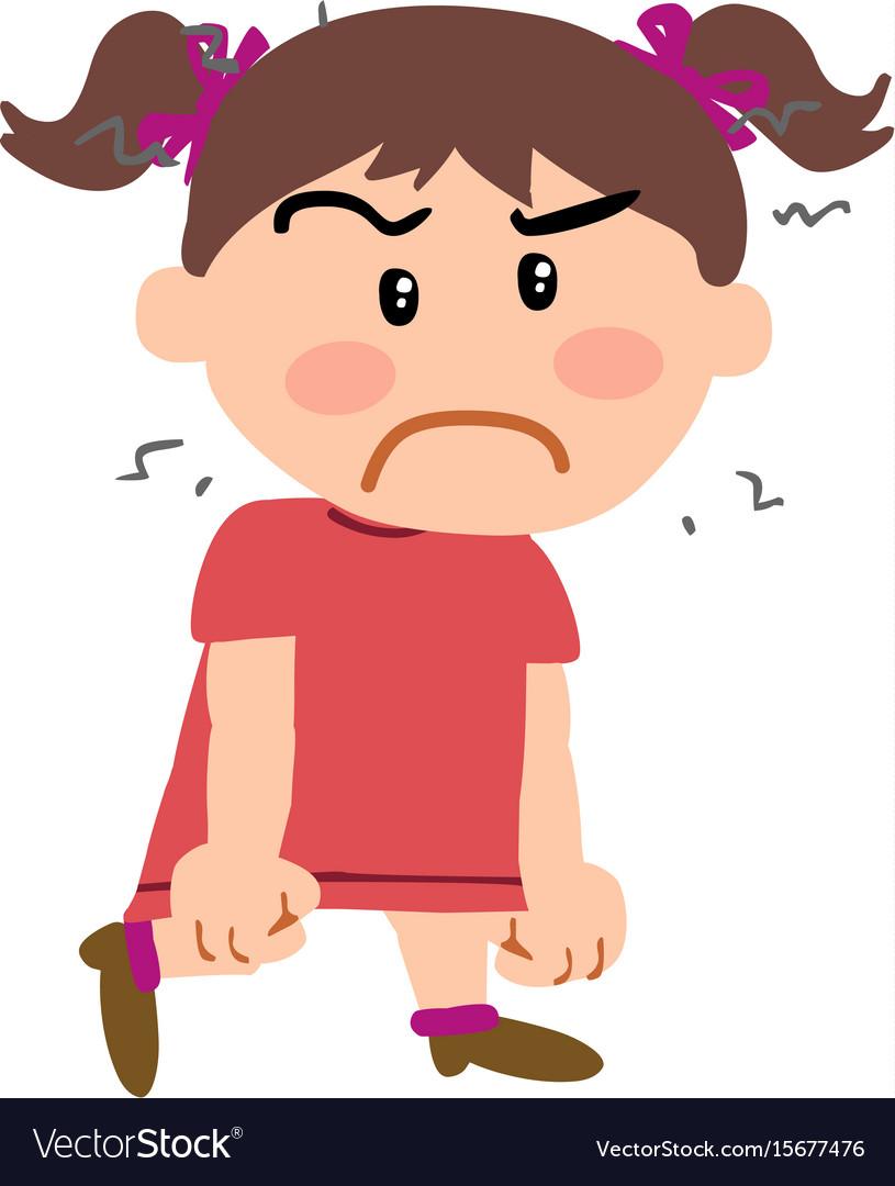 Cartoon character girl angry.