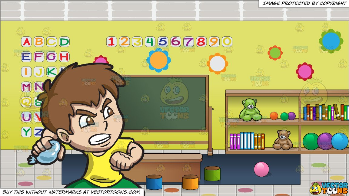 An Angry Boy Throwing A Water Balloon and Inside A Preschool Classroom  Background.