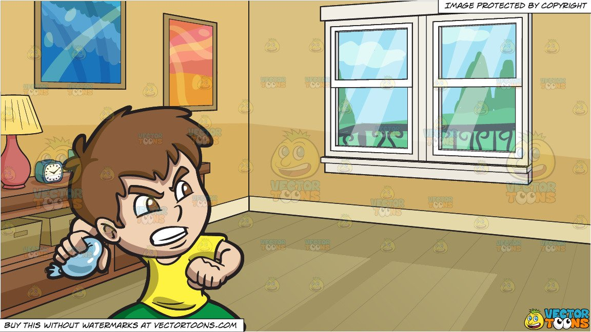 An Angry Boy Throwing A Water Balloon and The Corner Of A Living Room  Background.