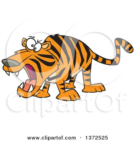 Cartoon Clipart of a Roaring Angry Tiger.