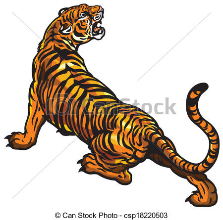 Vector Clipart of angry tiger.