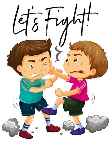 Phrase let\'s fight with two angry boys fighting.