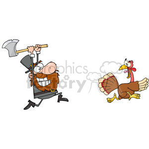 Angry Pilgrim Chasing With Axe A Turkey clipart. Royalty.