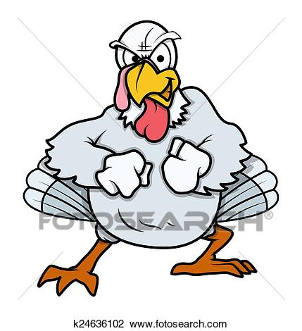 Angry Turkey Bird Ready to Fight Clipart.
