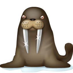 Cute Angry Walrus Icon, PNG ClipArt Image.