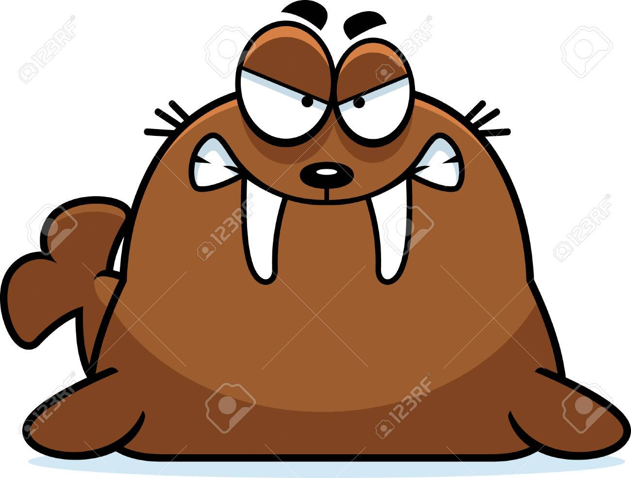 A cartoon illustration of a walrus looking angry..