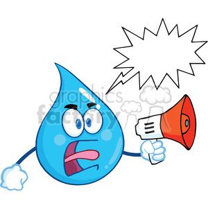 Royalty Free RF Clipart Illustration Angry Water Drop Character Screaming  Into Megaphone With Speech Bubble clipart. Royalty.