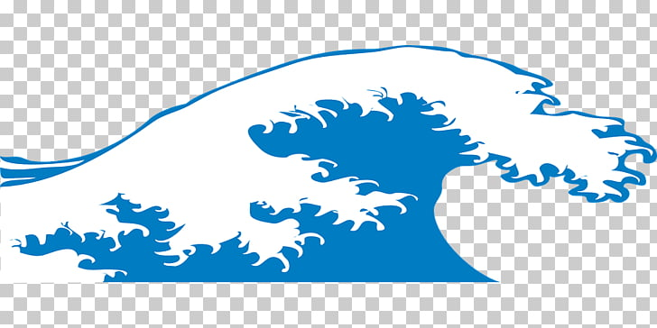 Large Blue Wave, blue and white ocean wave illustration PNG.