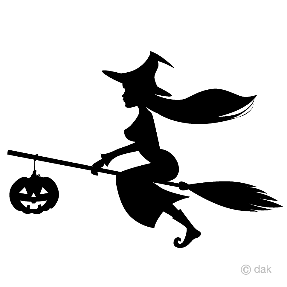 Free Witch and Pumpkin Silhouette Clipart Image|Illustoon.