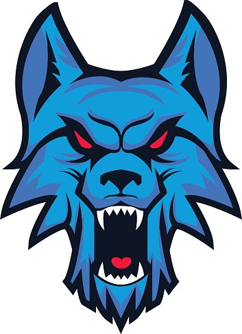 Template of logo with angry wolf head. Clipart Image.