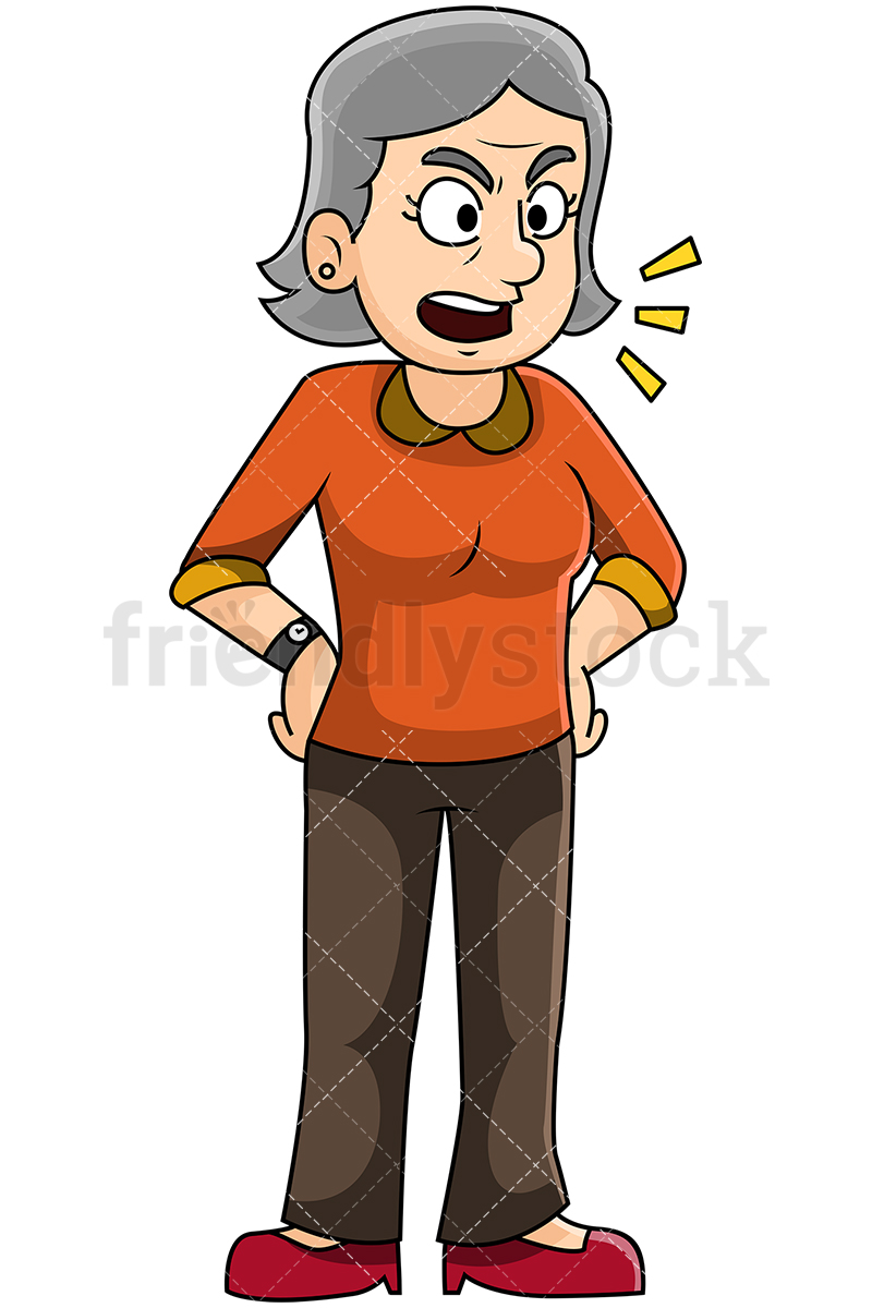 Angry Mature Woman Talking With Hands On Hips.