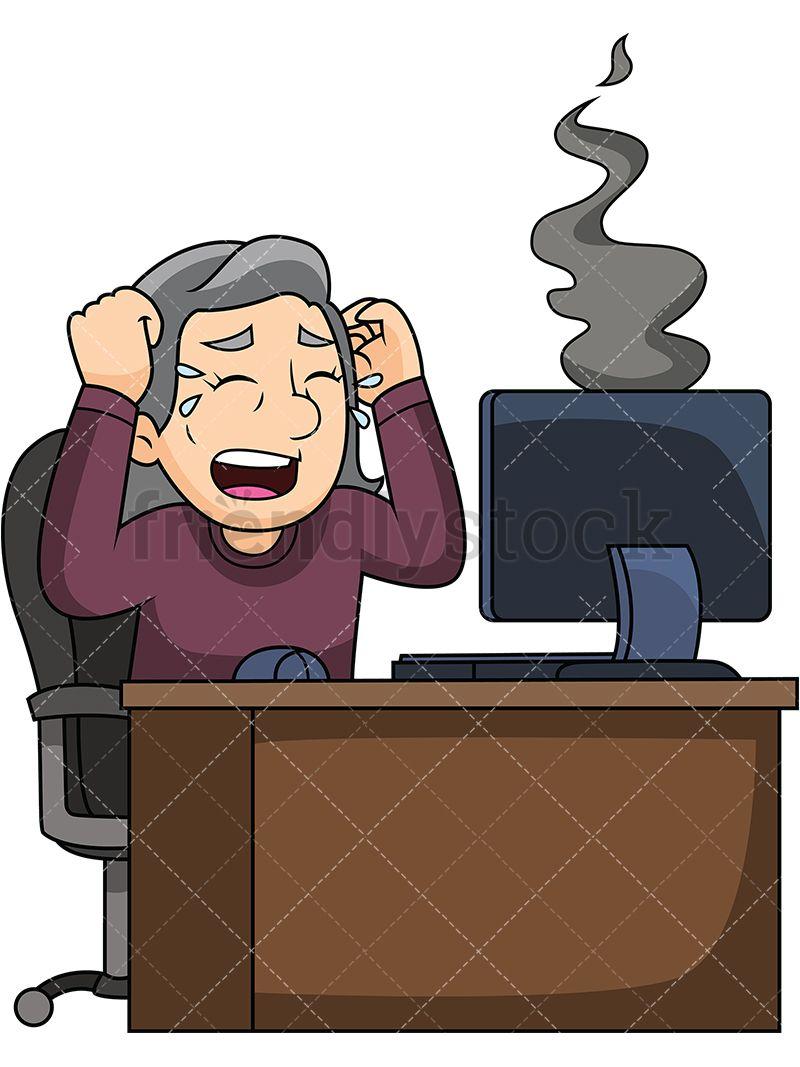 Old Woman Upset With Broken Computer.