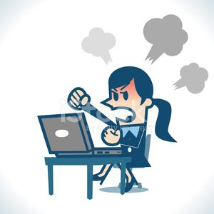 Woman Angry AT Computer premium clipart.