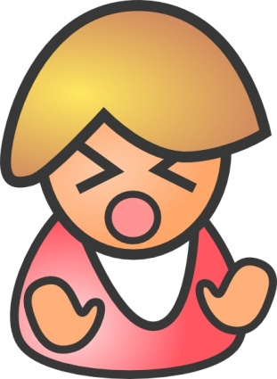 Angry Female clip art free vector.