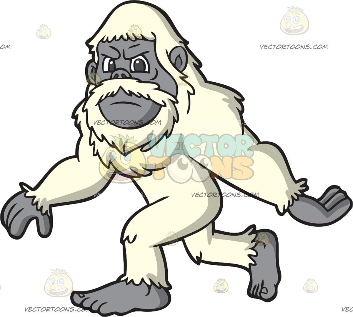 An Angry Yeti: A yeti with an off white fur mustache beard.