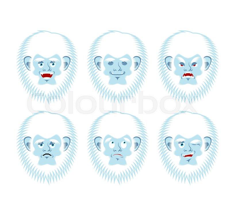 Yeti emoji set. Bigfoot sad and angry.