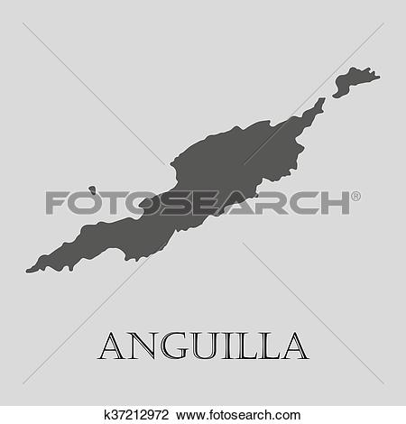 Clipart of Black Anguilla map.
