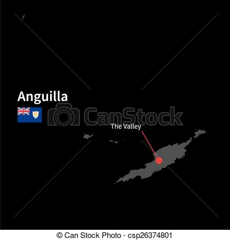 Vector Clipart of Detailed map of Anguilla and capital city The.
