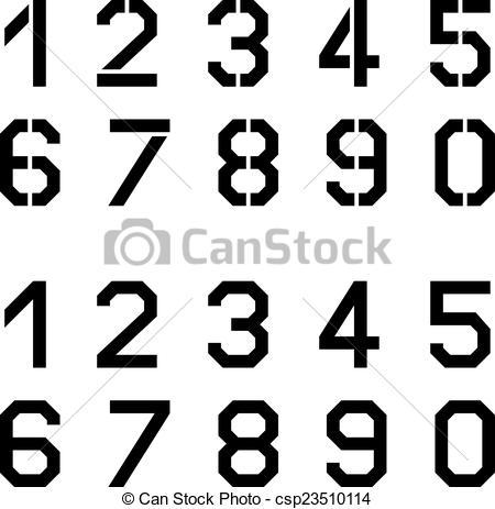 Vector Clip Art of vector stencil angular font numbers csp23510114.