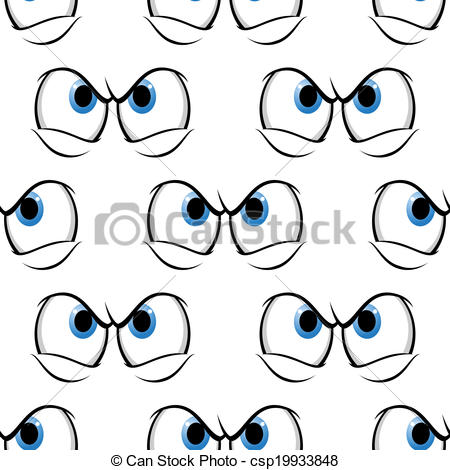 EPS Vector of Seamless pattern of cross angry eyes.
