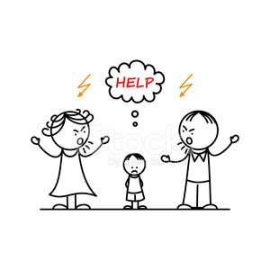Angry parents and sad boy Clipart Image.