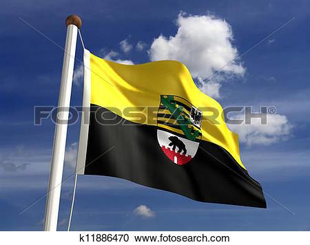 Stock Illustrations of Saxony Anhalt flag Germany k11886470.